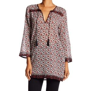 SOFT JOIE Daria C Red Floral Tunic Tassel Top